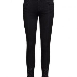 2nd One Nicole 002 Tie Satin Black Jeans suorat farkut
