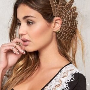 77thFLEA Feather ear cuff Brown melange/Gold