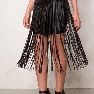 77thFLEA Frankie fringe skirt Black