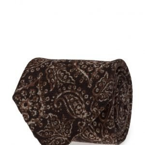 ATLAS DESIGN Tie Paisley Navy Line Brown solmio