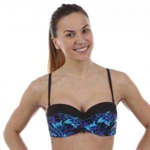 Abecita Butterfly Padded Wire Bandeau Bikiniyläosa Musta / Sininen
