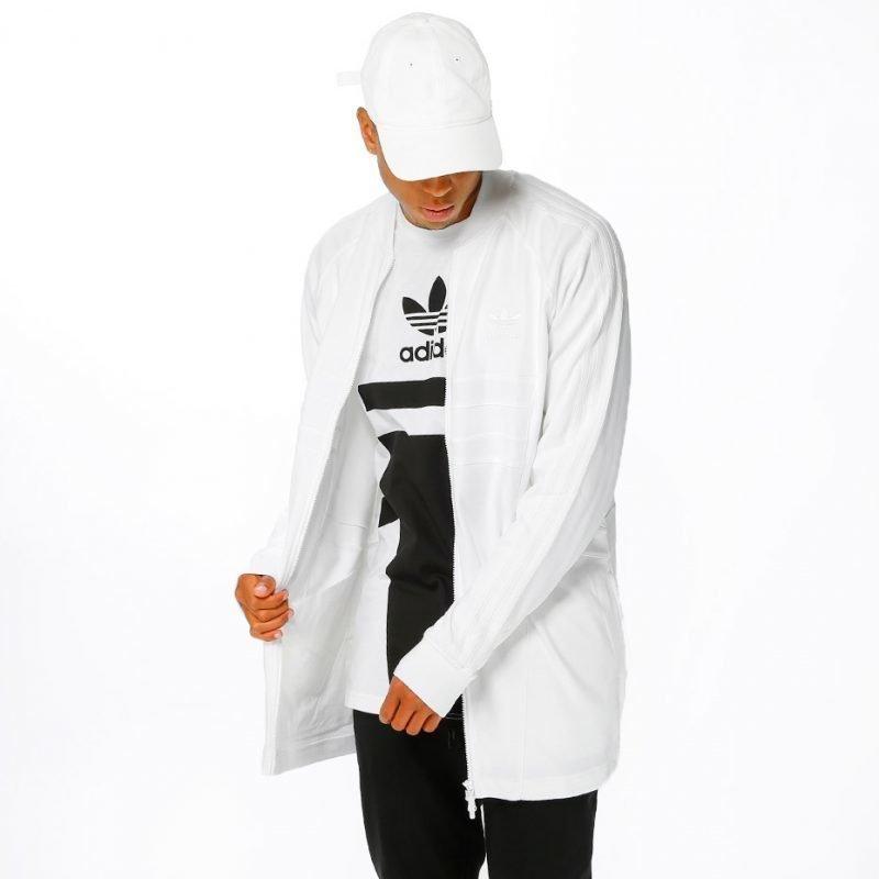 Adidas White Long SST -zip crew