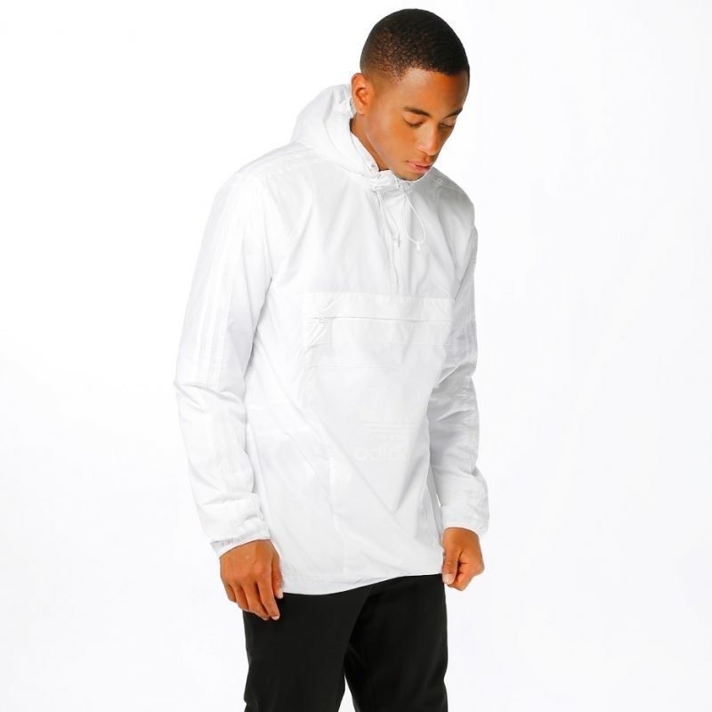Adidas White Windbreaker -takki