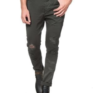 Adrian Hammond Eugene Destroyed 5 Pocket Pants Green