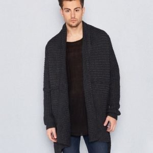 Adrian Hammond Larry Knitted Cardigan Dark Grey Melange
