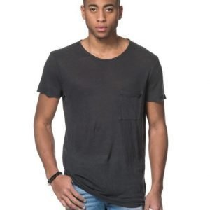 American Vintage Round Neck Pocket Tee Carbon