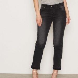 Anine Bing Raw Hem Jeans Straight Farkut Charcoal