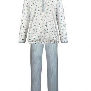 Ascafa Pyjama Ecru / Jäätikönsininen / Harmaa