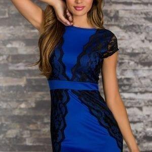 Aurora sinimusta pitsikoristeinen mekko