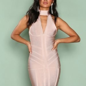 Ax Paris Bandage Choker Bodycon Dress Kotelomekko Light Beige