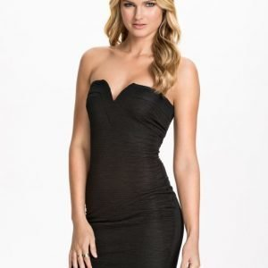 Ax Paris Bandeau Ruffle Fabric Bodycon Svart