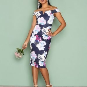 Ax Paris Bardot Bodycon Midi Dress Kotelomekko Navy