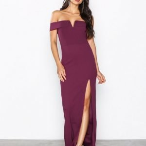 Ax Paris Bardot Maxi Dress Maksimekko Plum