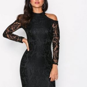 Ax Paris Cold Shoulder Lace Dress Maksimekko Black