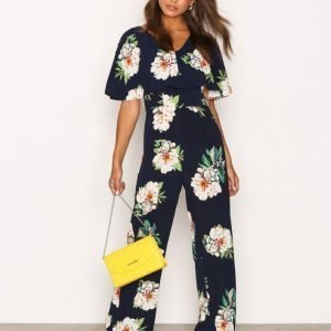 Ax Paris Floral Jumpsuit Navy