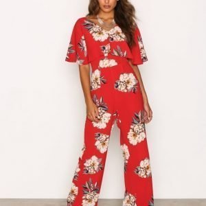 Ax Paris Floral Jumpsuit Red