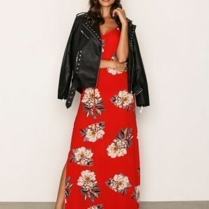 Ax Paris Flower Maxi Dress Maksimekko Red