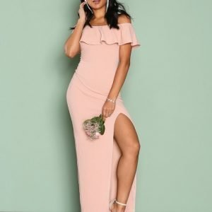 Ax Paris Frill Bardot Maxi Dress Maksimekko Blush