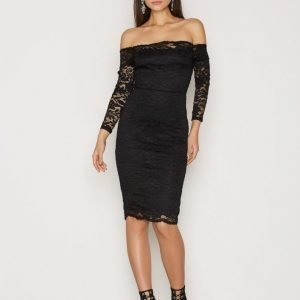 Ax Paris Lace Bardot Midi Dress Kotelomekko Black