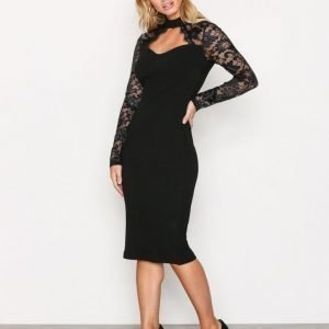 Ax Paris Lace Sleeve Dress Kotelomekko Black