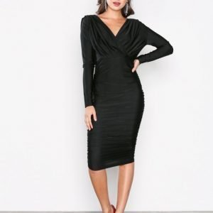 Ax Paris Long Sleeve Wrinkle Dress Kotelomekko Black