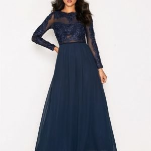 Ax Paris Ls Maxi Dress Maksimekko Navy