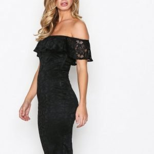Ax Paris Off Shoulder Flounce Lace Dress Kotelomekko Black