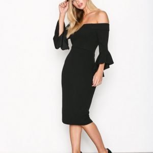 Ax Paris Off Shoulder Flounce Sleeve Dress Kotelomekko Black
