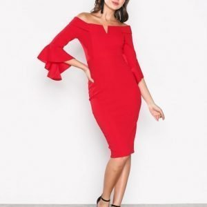 Ax Paris Off Shoulder Flounce Sleeve Dress Kotelomekko Red
