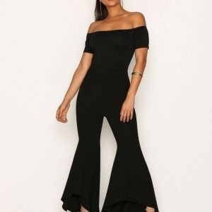 Ax Paris Short Sleeve Bardot Jumpsuit Black