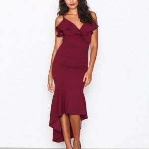 Ax Paris Thin Strap Frill Dress Juhlamekko Plum