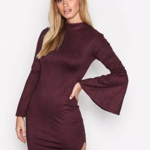Ax Paris Tie Sleeve Dress Skater Mekko Plum