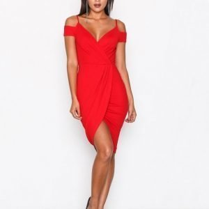 Ax Paris Wrap Bardot Strap Dress Kotelomekko Red