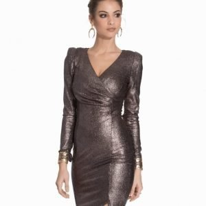 Ax Paris Wrap Metallic Dress