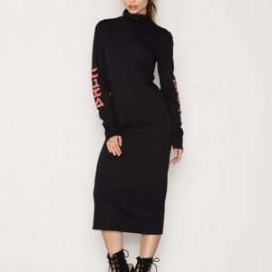 Back Ls Polo Dress Print Maksimekko Black