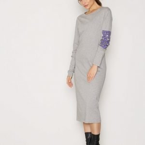 Back Ls T-Shirt Dress Print Maksimekko Grey Melange