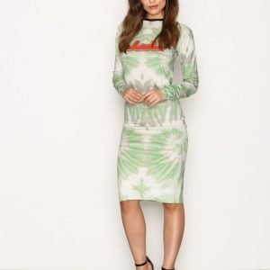 Back Print Ls Dress Kotelomekko Green