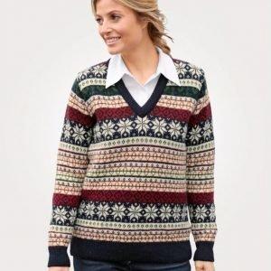 Balmoral Knitwear Neulepusero Ecru / Laivastonsininen / Punainen