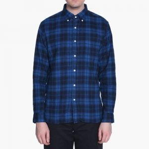 Beams+ Button Down Shaggy Block Check Shirt