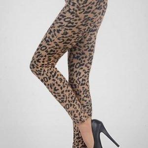 Beiget leopardikuvioiset leggingsit