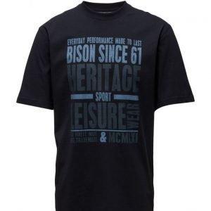 Bison O-Neckteewithprint lyhythihainen t-paita