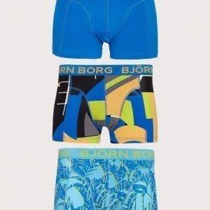 Björn Borg 3p Short Shorts BB Multi Collage & BB Tropical Bokserit Blue