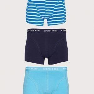 Björn Borg 3p Short Shorts BB Stripe Bokserit Blue