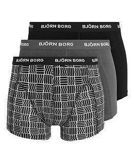 Björn Borg Short Shorts Check 3-pack Black