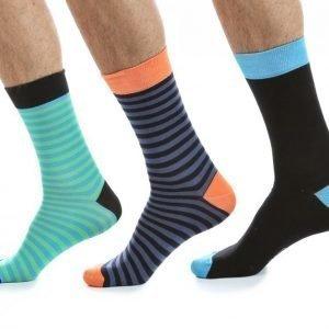 Blacc 3-Pack Socks Puuvillasukat Värikäs