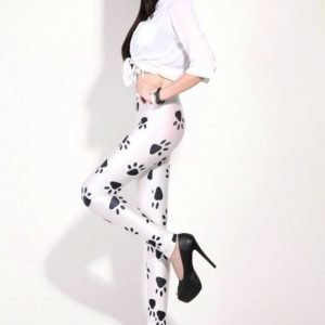 Black Dog Cat Paws White Leggings Tights
