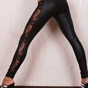Black Faux Leather Wetlook with Lace Insert Leggings
