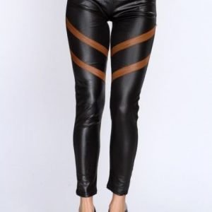 Black Faux Leggings with Brown stripes and pockets