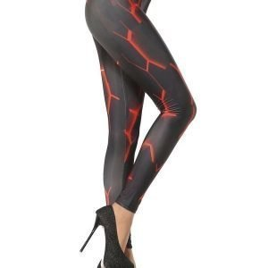 Black Leggings Tights with red Tribal