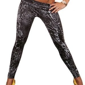 Black Leopard Jeans Print Leggings Tights